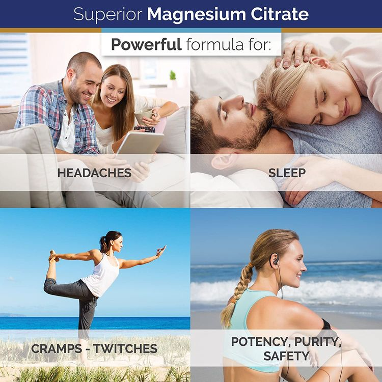 Superior Labs Magnesium Citrate - 100% NonGMO Safe from Additives, Stearates, Gluten and Other Allergens - Powerful Dose for Sleep, Headaches, Cramps, Twitches - 1,250mg Citrate, 120 Vegetable Caps
