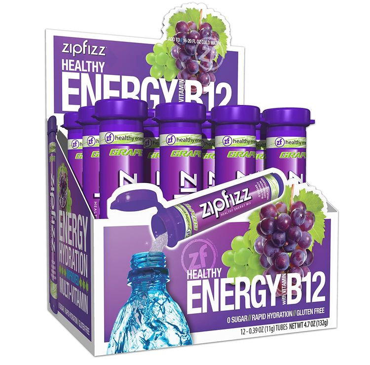 Zipfizz Healthy Energy Drink Mix, Hydration with B12 and Multi Vitamins, Grape, 12 Count