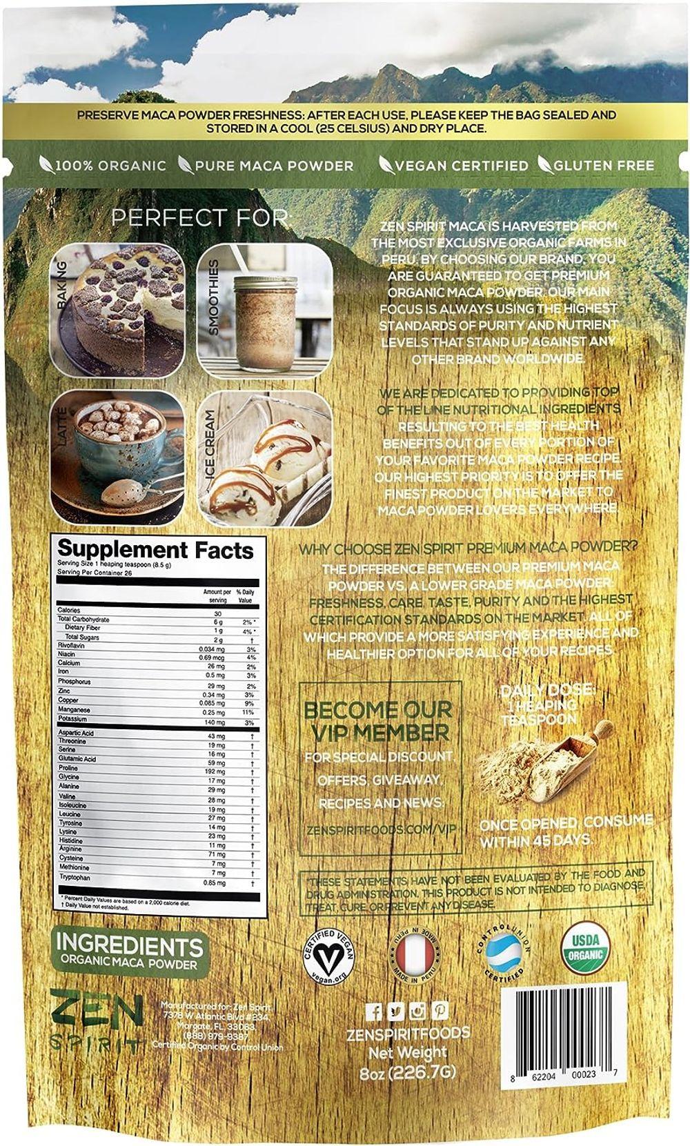 Maca Root Powder Organic - Peruvian Root Premium Grade Superfood (Raw) - USDA & Vegan Certified - 226.7g (8oz) - Perfect for Breakfast, Smoothies, Baking & Ice Cream.