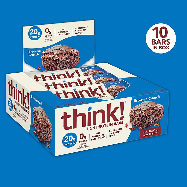 think! High Protein Bars - Brownie Crunch, 20g Protein, 0g Sugar, No Artificial Sweeteners, GMO Free, 2.1 oz bar (10 Count)