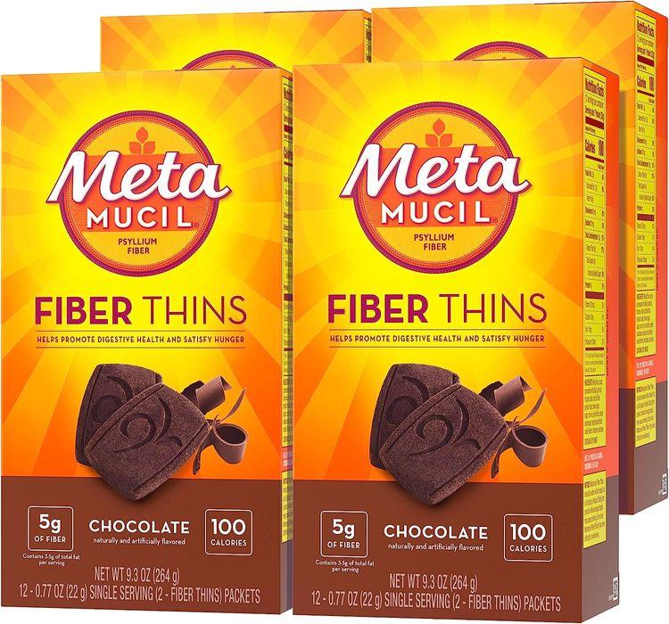 Metamucil Fiber Thins, Psyllium Husk Fiber Supplement, Digestive Health Support and Satisfy Hunger, Chocolate Flavored, 12 Servings (Pack of 4)