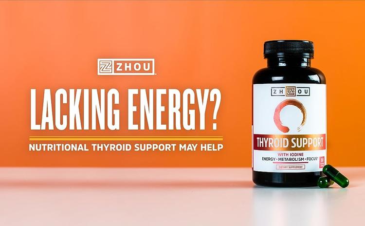 Zhou Nutrition Thyroid Support - Thyroid support with ashwagandha, vitamin B12 and bladderwrack