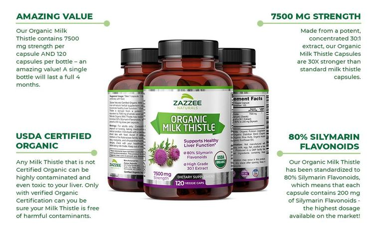 Amazing Value, 7500 mg Strength, USDA Certified Organic, 80% Silymarin Flavonoids.
