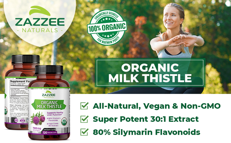 Zazzee Naturals Organic Milk Thistle, All-Natural, Vegan, Potent 30:1 Extract, Silymarin Flavonoids