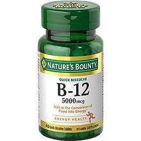 Nature's Bounty B-12 5000 mcg, 40 Quick Dissolve Tablets