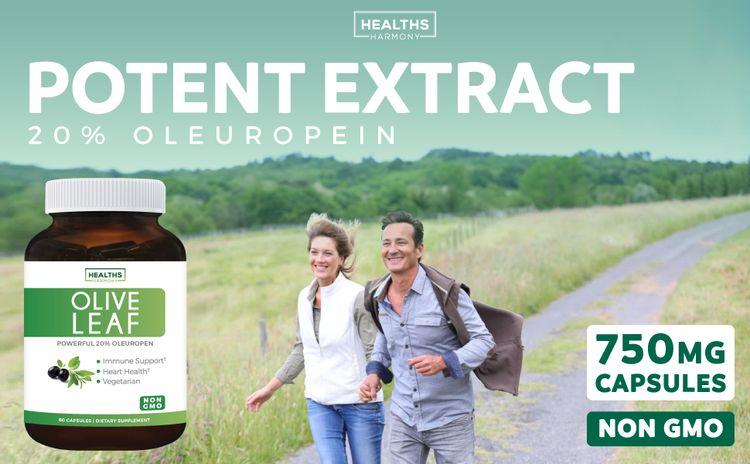 Olive Leaf Extract 750mg - 20% Oleuropein - Vegetarian - Non-GMO - Cardiovascular Health