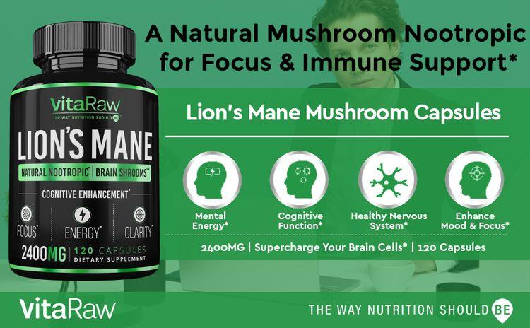 Organic Lions Mane Mushroom Capsules Brain Mushroom Supplement for Focus and Immune Support