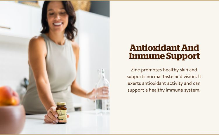 Antioxidant Immune Support; Zinc exerts antioxidant activity and can support a healthy immune system