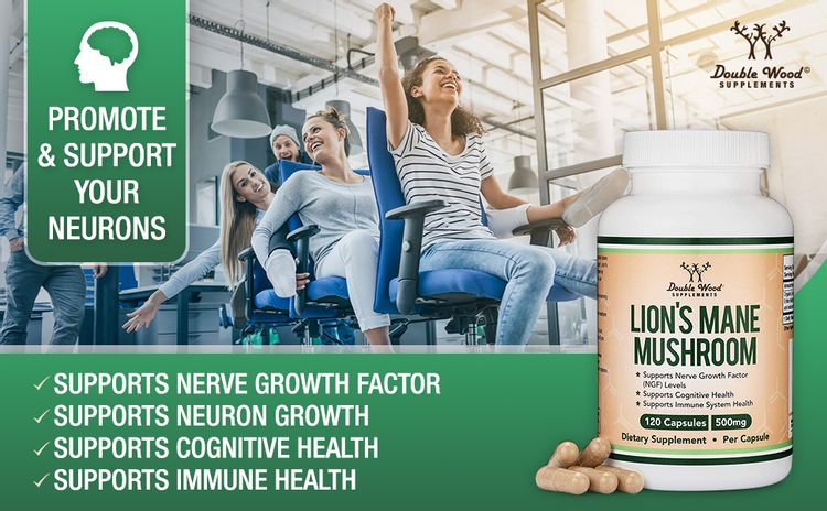 Double Wood Supplements Lions mane mushroom supplement Nootropic for Brain Health and Growth
