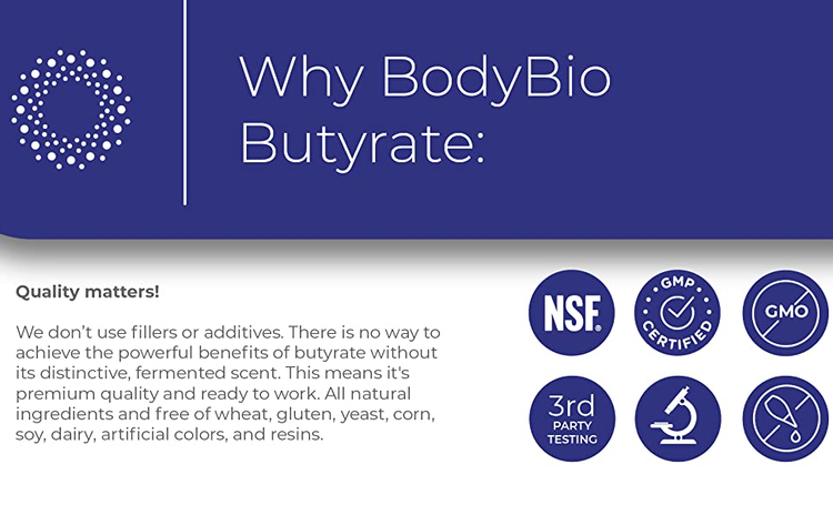 body bio bodybio supplements butyrate NSF GMP certified non GMO third party tested researched based