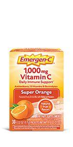 Emergen-C, EmergenC, Powder, Vitamin C, Immune Support, Drink Mix, Powder, Vitamins