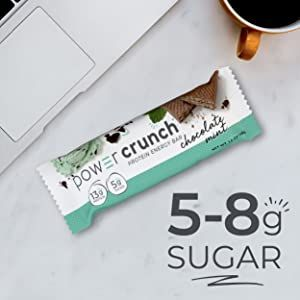 5-8g Sugar with chocolate mint on desk with computer next to it