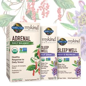 adrenal, sleep well, mykind, garden of life