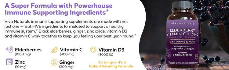 elderberries vitamin c zinc 800mg immune support viva naturals
