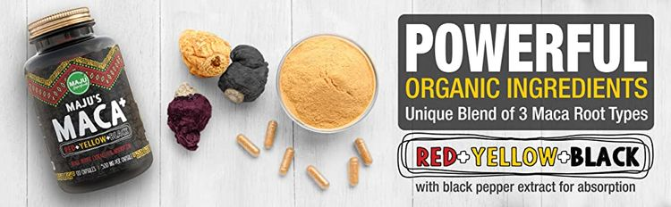 Maca Capsules Red Yellow Black Organic
